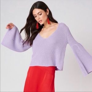 Free People Sz M Damsel Sweater Bell Sleeve Purple